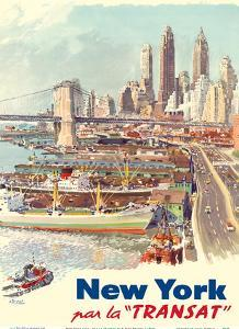 New York City - Travel by Boat (Par La Transat) by Albert Brenet