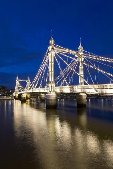 Albert Bridge and River Thames at Night, Chelsea, London, England, United Kingdom, Europe-Stuart-Photographic Print