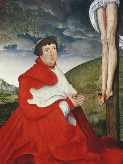 Albert, Cardinal Elector of Mainz at the Foot of the Cross (Detail of 244970)-Lucas Cranach the Elder-Giclee Print