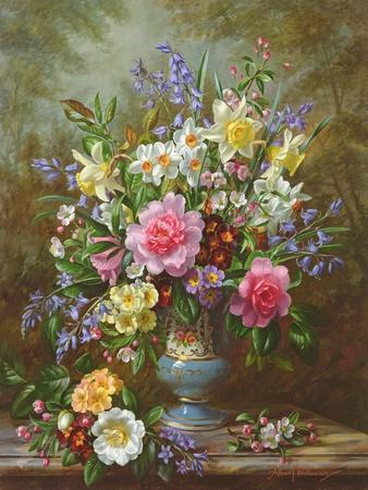 Bluebells, Daffodils, Primroses and Peonies in a Blue Vase