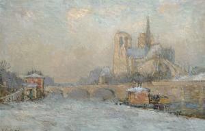 Quai De La Tournelle and Notre-Dame De Paris, 1909 by Albert-Charles Lebourg