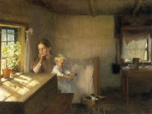 A Woman and Child in a Sunlit Interior, 1889 by Albert Edelfelt