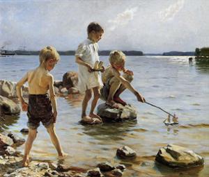 Boys Playing on the Beach, 1884 by Albert Edelfelt