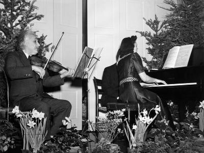 Albert Einstein Giving Violin Recital for American Friends Service Committee for Refugee Children--Photo