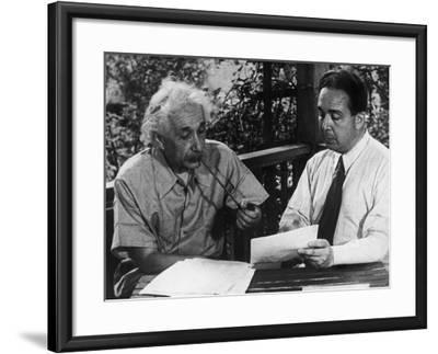 Albert Einstein, Leo Szilard Reenacting Signing Letter to Pres. Roosevelt Warning about Atomic Bomb--Framed Premium Photographic Print