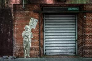 "Albert Einstein ""Love Is the Answer"" NYC Wall Scene"
