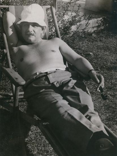 Albert Einstein Sunbathing in 1932--Photo