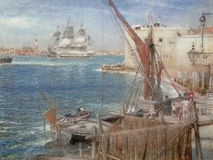 HMS the Victory at Portsmouth, 1907 by Albert Goodwin