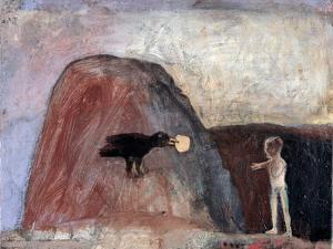 Elijah Fed by a Raven in the Desert I, 1991 by Albert Herbert