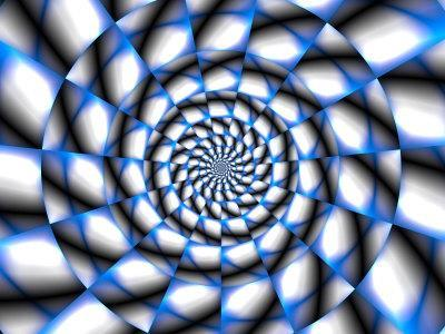 Abstract Blue and White Spiral Design