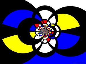 Abstract Blue, Red, Black and Yellow Fractal Design by Albert Klein