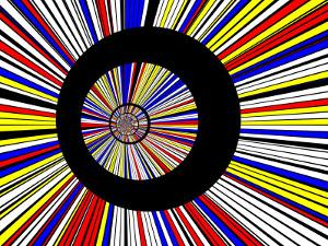 Abstract Fractal Design with Black Circles on Blue, Red, and Yellow Background by Albert Klein