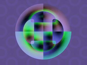 Abstract Green and Blue Fractal Pattern on Purple Background by Albert Klein