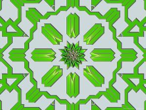 Abstract Green Pattern on Grey Background by Albert Klein