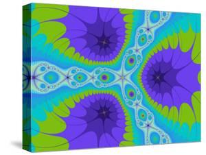 Abstract Purple and Green Fractal Designs on Turquoise Background by Albert Klein