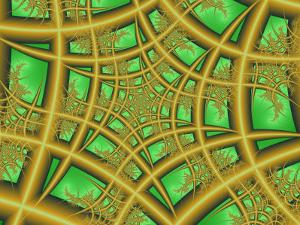 Abstract Web-Like Fractal Patterns on Green Background by Albert Klein