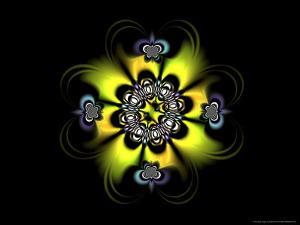 Abstract Yellow Flower-Like Fractal Design on Dark Background by Albert Klein