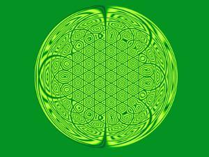 Celtic Fractal Pattern on Green Background by Albert Klein