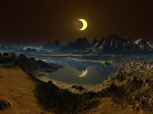 Eclipse over Alien Landscape by Albert Klein