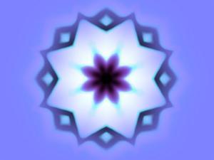 Flower-Like Fractal Design Within Star on Blue Background by Albert Klein
