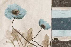 Poppies With Blue-Brown Damask Panel by Albert Koetsier