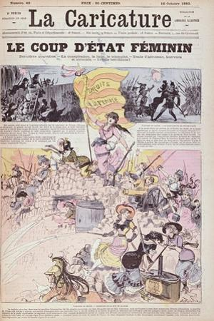 The Feminist Coup D'Etat', from 'La Caricature', October 1880 by Albert Robida