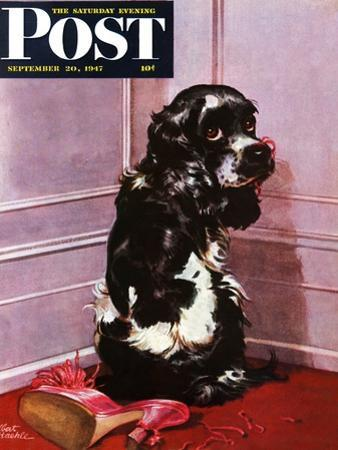 """Bad Dog, Butch,"" Saturday Evening Post Cover, September 20, 1947 by Albert Staehle"