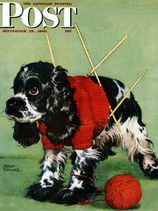 """""""Butch and Knitted Sweater,"""" Saturday Evening Post Cover, September 28, 1946 by Albert Staehle"""