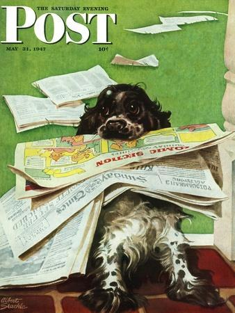 """Butch and the Sunday Paper,"" Saturday Evening Post Cover, May 31, 1947"