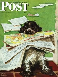 """""""Butch and the Sunday Paper,"""" Saturday Evening Post Cover, May 31, 1947 by Albert Staehle"""