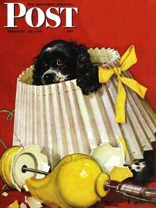 """""""Butch & Broken Lamp,"""" Saturday Evening Post Cover, February 23, 1946 by Albert Staehle"""