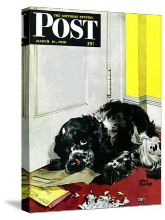 """""""Butch Chews the Mail,"""" Saturday Evening Post Cover, March 13, 1948"""