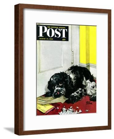 """Butch Chews the Mail,"" Saturday Evening Post Cover, March 13, 1948"