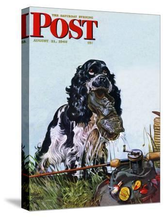 """""""Butch Fishes for a Shoe,"""" Saturday Evening Post Cover, August 21, 1948"""