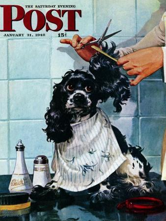 """""""Butch's Haircut,"""" Saturday Evening Post Cover, January 31, 1948"""