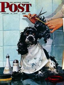 """""""Butch's Haircut,"""" Saturday Evening Post Cover, January 31, 1948 by Albert Staehle"""