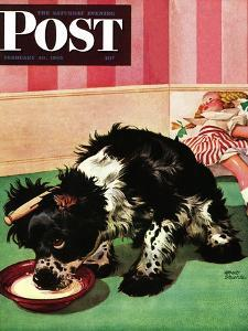 """""""Clothespinned Butch,"""" Saturday Evening Post Cover, February 10, 1945 by Albert Staehle"""