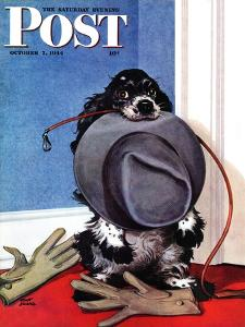 """""""Go for A Walk?,"""" Saturday Evening Post Cover, October 7, 1944 by Albert Staehle"""