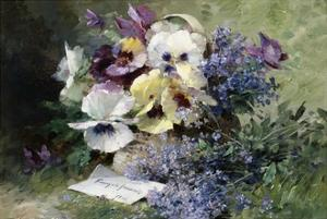 Pansies and Forget Me Not by Albert Tibulle de Furcy Lavault