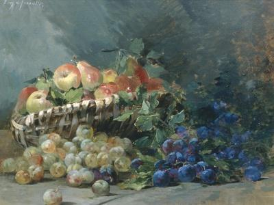 Still Life of Apples and Greengages in a Basket