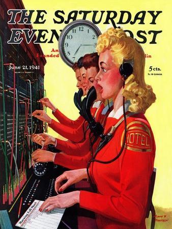 """Hotel Switchboard Operators,"" Saturday Evening Post Cover, June 21, 1941"