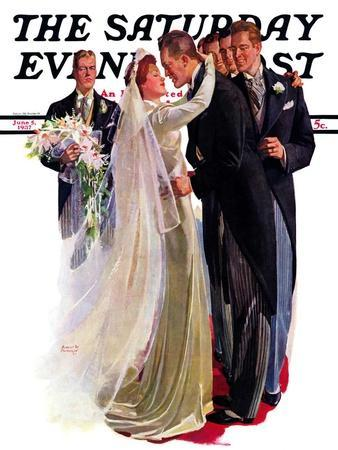 """""""Kissing the Best Man,"""" Saturday Evening Post Cover, June 5, 1937"""