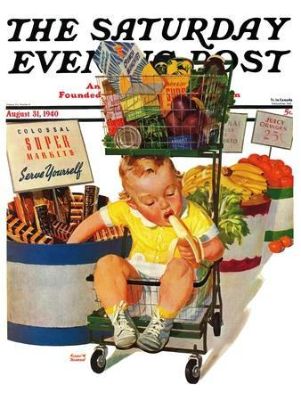 """""""Lunchtime at the Grocery,"""" Saturday Evening Post Cover, August 31, 1940"""