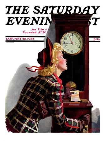 """""""Punching In,"""" Saturday Evening Post Cover, January 22, 1938"""