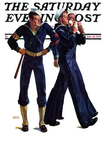 """""""Sailors and Cones,"""" Saturday Evening Post Cover, July 24, 1937"""
