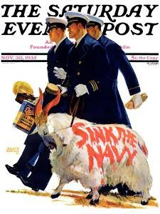"""""""Sink the Navy,"""" Saturday Evening Post Cover, November 30, 1935 by Albert W. Hampson"""