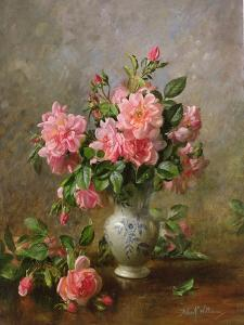 AB/1022 Roses in a Blue and White Vase by Albert Williams