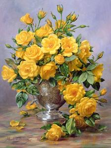 Bright Smile - Roses in a Silver Vase by Albert Williams