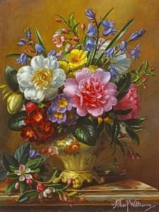 Peonies, Bluebells and Primulas by Albert Williams