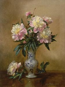 Peonies in a Blue and White Vase by Albert Williams